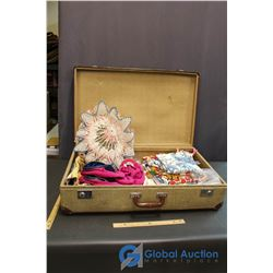 Vintage Suitcase w/Misc Clothing