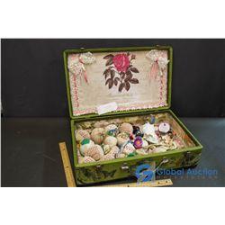 Decorative Suitcase w/Contents (Lavendar Satchels, Misc Jewelry)