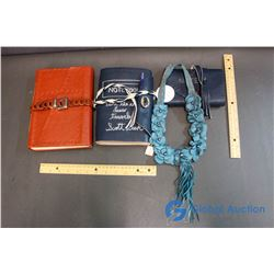 (3) Handmade Leather Journals & Necklace