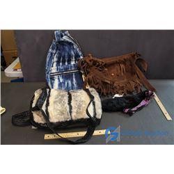 (3) Handbags & a Fur Collar