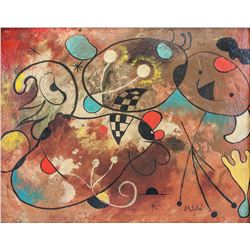 Spanish Surrealist Mixed Media Signed Miro