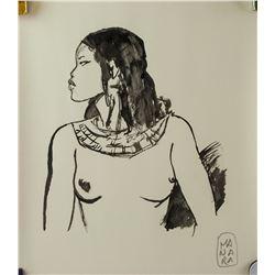 Italian Pop Art Ink on Paper Signed Manara
