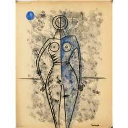 Mexican Surrealist-Cubist Mixed Signed Tamayo