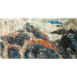 Li Xinchun 20th C Chinese Watercolor on Paper Roll