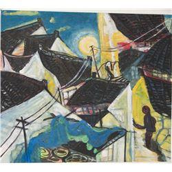 Xu Zhong Fang Abstract Folk Art Painting Signed