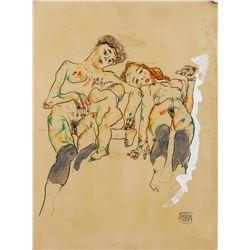 Gouache and Watercolor Paper Signed Egon Schiele