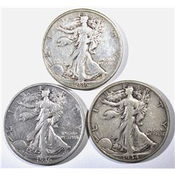 1934-S, 35-S & 36-S WALKING LIBERTY HALVES, XF
