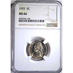 1955 JEFFERSON NICKEL NGC MS66