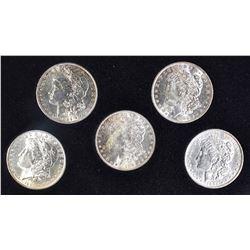 5-BU MORGAN DOLLARS IN DISPLAY BOX: