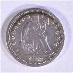1858 SEATED LIBERTY DIME CH AU