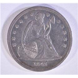 1843 SEATED DOLLAR CH AU