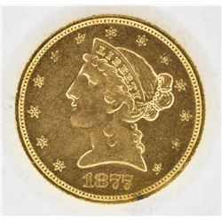1877-S $5 GOLD LIBERTY CH BU LOOKS PROOF LIKE