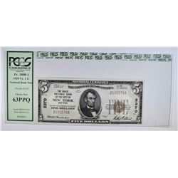 1929 TY1 $5 NATIONAL CURRENCY  PCGS 63PPQ