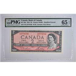 1954 $2 CANADA BANK NOTE  PMG 65 EPQ