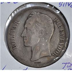 1886 SILVER 5 BOLIVARES VENEZUELA  VF
