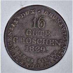 1829 SILVER 16 GROSHEN  CH BU