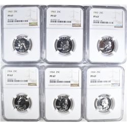 3-1963 & 3-64 WASHINGTON QUARTERS, NGC PF-67
