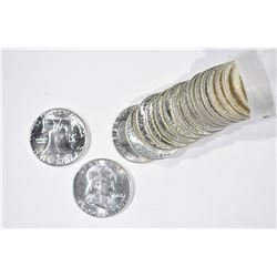 BU ROLL OF 1963 FRANKLIN HALF DOLLARS