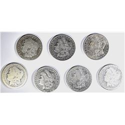 7-CIRC MORGAN DOLLARS, VARIOUS DATES