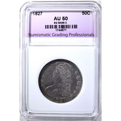 1827 BUST HALF DOLLAR, NGP AU SQUARE BASE 2