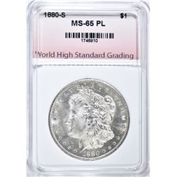 1880-S MORGAN DOLLAR, WHSG GEM BU PL
