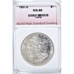 1891-S MORGAN DOLLAR, WHSG SUPERB GEM BU