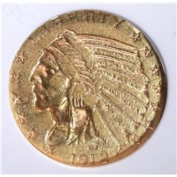 1912-S $5.00 INDIAN HEAD GOLD, PCI CH BU  RARE!