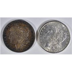 1885 & 1900 MORGAN DOLLARS  CH BU