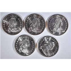 """5-""""BUST"""" ONE OUNCE .999 SILVER ROUNDS"""