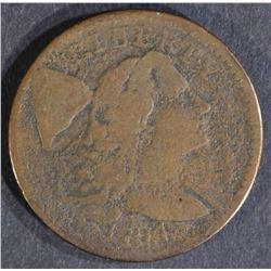 1794 LIBERTY CAP LARGE CENT S-62 R-4+, VG
