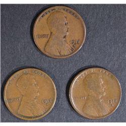 3-FINE 1912-S LINCOLN CENTS