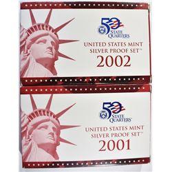 2001 & 02 U.S. SILVER PROOF SETS, ORIG PACKAGING