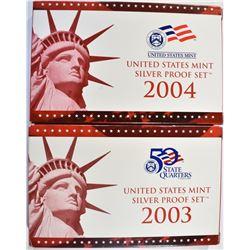 2003 & 04 U.S. SILVER PROOF SETS, ORIG PACKAGING