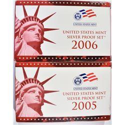 2005 & 06 U.S. SILVER PROOF SETS, ORIG PACKAGING