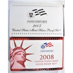 2007 & 08 U.S. SILVER PROOF SETS, ORIG PACKAGING