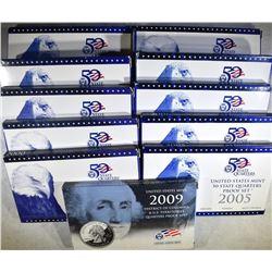 1999-2009 U.S. QUARTER PROOF SETS, ORIG PACKAGING
