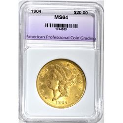 1904 $20.00 GOLD LIBERTY, APCG CH/GEM BU
