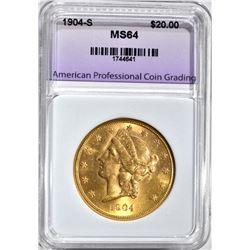 1904-S $20.00 GOLD LIBERTY, APCG CH/GEM BU
