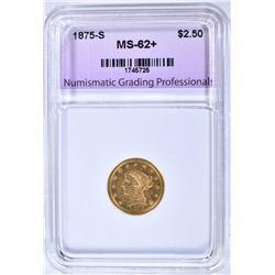 1875-S $2.50 GOLD, NGP NICE BU+