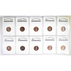 10 LINCOLN CENTS IN OLD ANACS HOLDERS