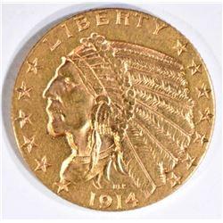1914-S $5 GOLD INDIAN BU