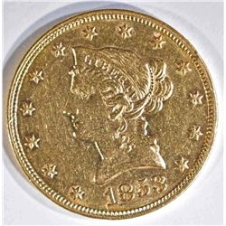 1853 $10 GOLD LIBERTY BU LIGHT CLEANING