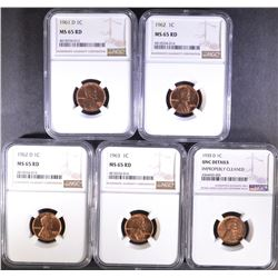 5 - NGC LINCOLN CENTS: 4- MS 65 RD 1961-D,