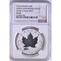 2016 CANADA SILVER $5 MAPLE LEAF-REVERSE PROOF