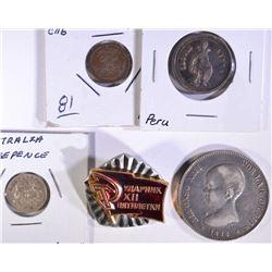 LOT of 5: 1928 AUSTRALIA 3 PENCE; 1862 PERU MEDAL;