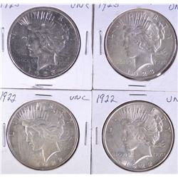 4 PEACE DOLLARS: 2- 1922 & 2- 1923
