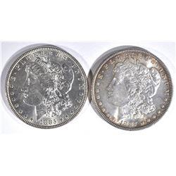 1885 & 1887 MORGAN DOLLARS  CH BU