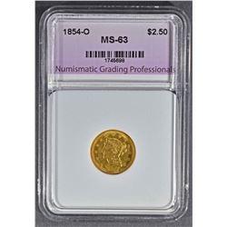 1854-O $2.50 GOLD LIBERTY, NGP CH BU