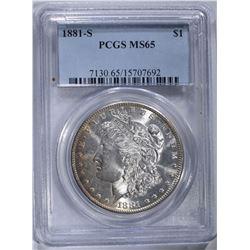 1881-S MORGAN DOLLAR, PCGS MS-65