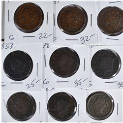9 AVG FINE LARGE CENTS: (2) 1822, 1830,